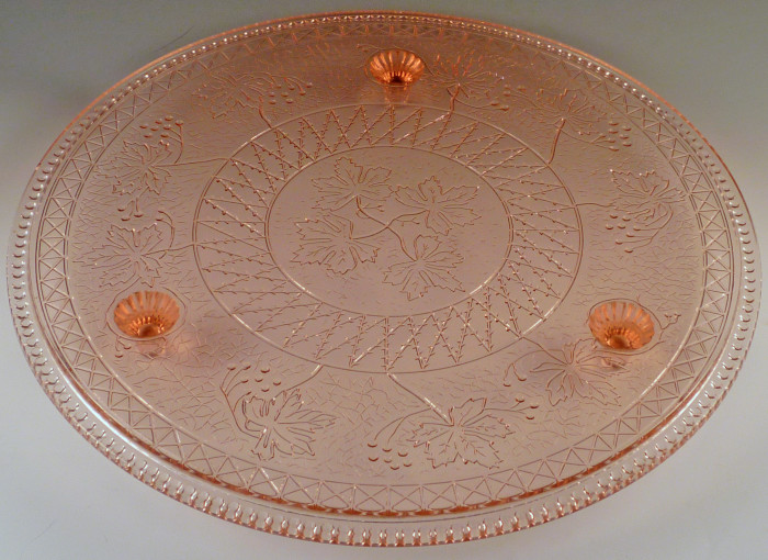 Exciting find rare maple leaf cake plate from us glass for Most valuable depression glass patterns