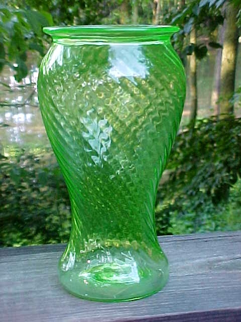 Monongah Spiral Optic Green Vase Kindly Identified by Jim R