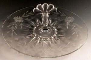 Beautiful Teardrop Cut Crystal Center Handled Server from New Martinsville