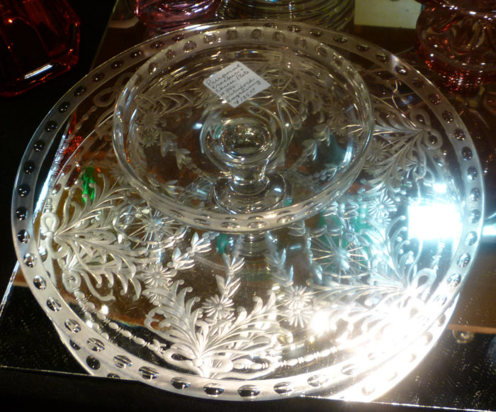 Pairpoint Engraved Cheese & Cracker Set A-Z Collectibles at 2017 Dearborn Depression Glass Show