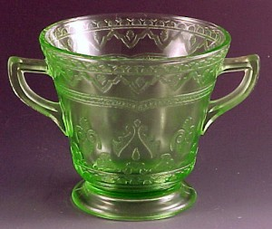 Patrician Spoke Green Depression Glass