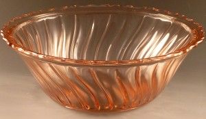 Spirals and Swirls – Bowls in Jeannette Swirl Depression Glass