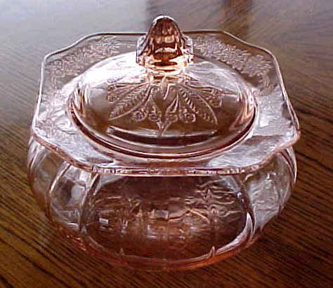 Jeannette Glass pink depression glass covered casserole Adam pattern 1933